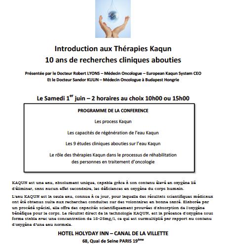 Introduction aux Thérapies Kaqun: Conférence le Samedi 1er juin dans le 19ème à Paris