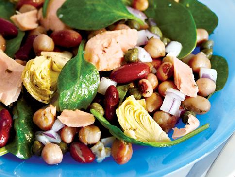 Recette végétarienne-Salade de légumineuses et pousse d'épinard