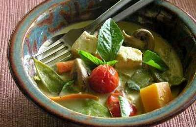 Recette végétarienne-Curry vert aux légumes