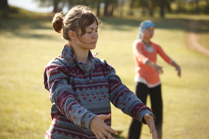 Practicing Qi Gong outdoors
