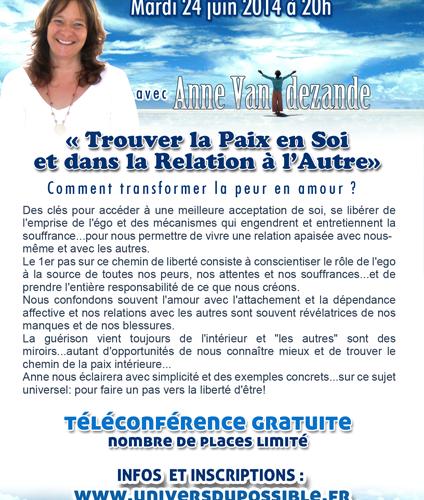 Téléconférence trouver la paix en soi et dans la relation à l'autre