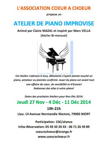 Atelier de piano improvisé