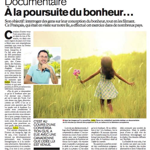 Julien Peron dans le journal l'express de l'île Maurice