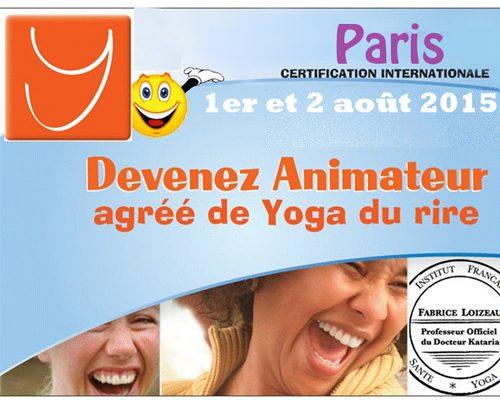 STAGE ANIMATEUR AGREE YOGA DU RIRE PARIS 01 ET 02 AOUT
