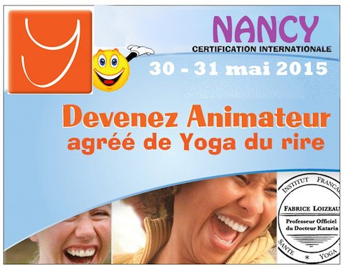 STAGE ANIMATEUR AGREE YOGA DU RIRE NANCY 30 ET 31 mai
