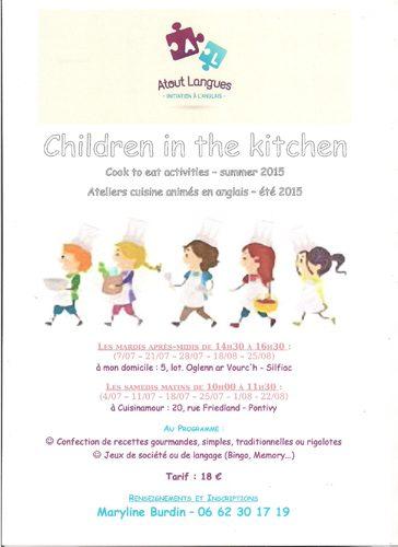 Ateliers cuisine en anglais pour les enfants