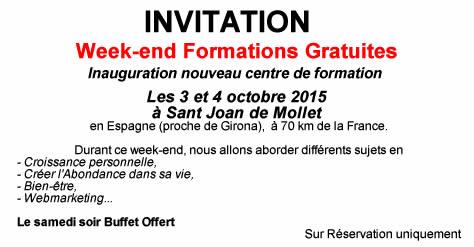 Invitation Gratuite Week-end formations les 3 et 4 octobre 2015