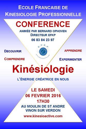 Conférence kinésiologie à Vinon sur Verdon