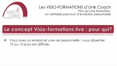 Les Visio-formations-live d'UNIK-Coach.