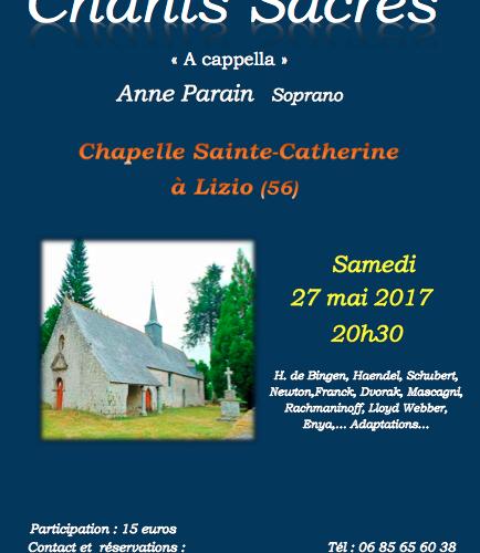 Concert Chants sacrés A Cappella le 27 mai 2017 à 20h30 à Lizio (56)