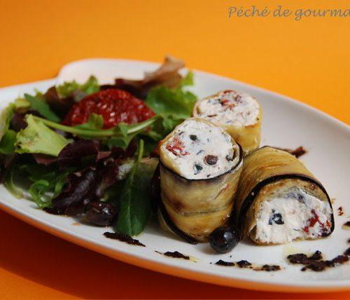 Recette végétarienne: Rouleaux d'aubergine farcie au yaourt