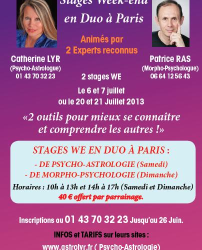 Stage bien-être – Astrologie et Morpho-Psychologie – Paris