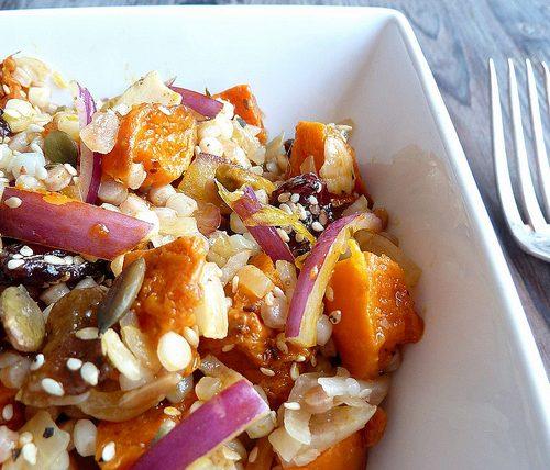 Recette végétarienne-Salade de moughrabieh aux poivrons et au citron confit