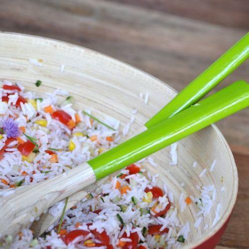 Recette végétarienne-Salade de riz basmati aux herbes et au concombre