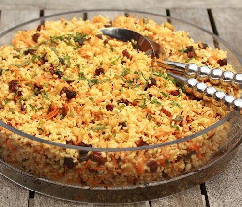 Recette végétarienne-Salade de boulgour aux légumes rôtis à la marocaine