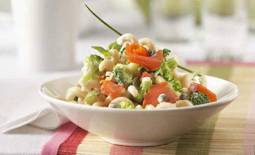 Recette végétarienne-Salade chaude de pâtes au brocoli et au citron