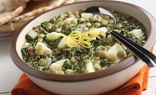 Recette végétarienne-Soupe aux épinards et aux lentilles corail