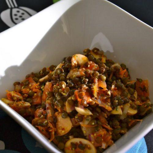 Recette végétarienne-Salade de lentilles champignons et poivrons