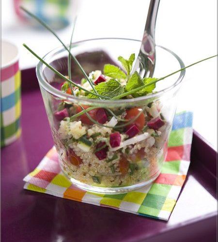 Recette végétarienne-Salade de quinoa courgette et grenade