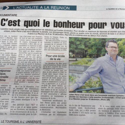 Julien Peron à la Reunion interview dans le quotidien