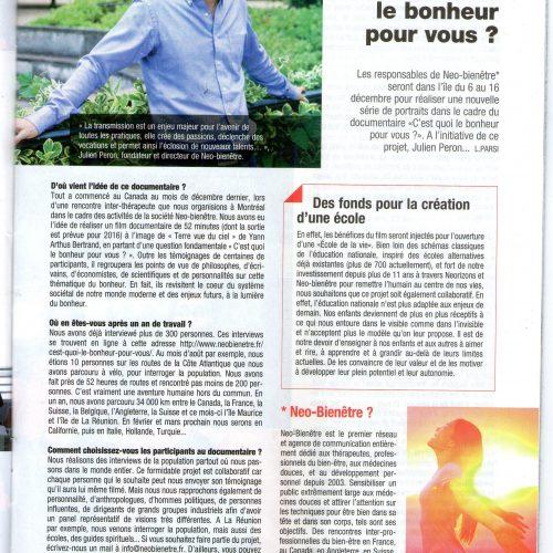 Julien Peron interviewé part Femme magazine à la Réunion