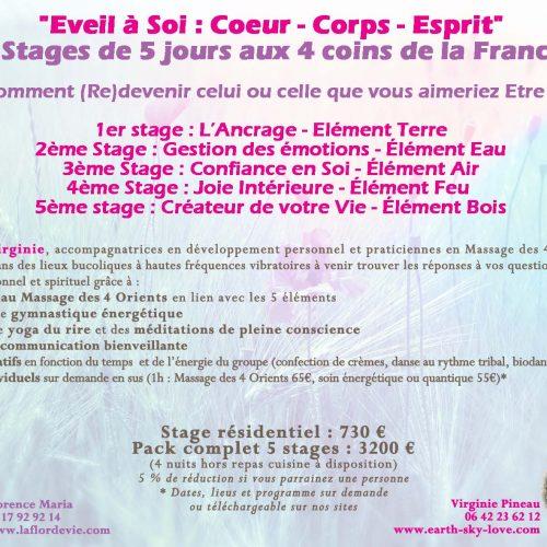 Du 16 au 20 Mai 2019 : Stage Eveil à Soi «L'Ancrage Niveau 1», dans la Creuse